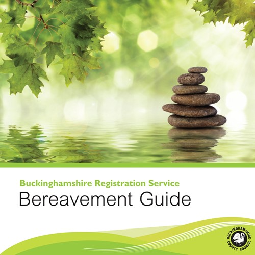 Decorative front cover of the Buckinghamshire Registration Service Bereavement Guide