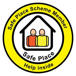 Safe Place Scheme Member Logo, Yellow circle with the wording Safe Place Help Inside written on it