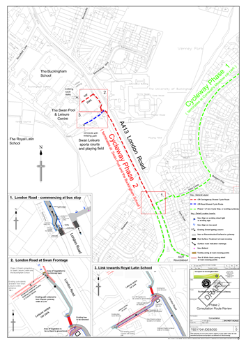 map highlighting Cycleway Phase 2
