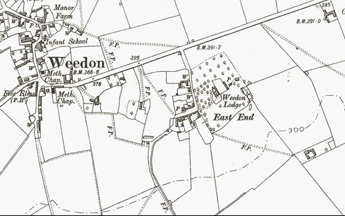 Weedon Lodge on the 1900 Ordnance Survey map