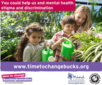 "children watering plants, with the quote, "" You could help us end mental health stigma and discrimination"""