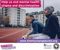 "Poster of two footballers with the quote ""help us end mental health stigma and discrimination"""