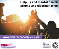"Sunshine social media poster with the quote ""Help us end mental health stigma and discrimination"". Four people with their hands in the air towards the sun"