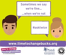 "ask twice picture of two people with the quotes ""Sometimes we say we're fine...when we're not. # ask twice"