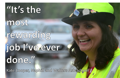"Photo of Kate Cooper, Patroller at Naphill and Walters Ash School. It has the caption ""It's the most rewarding job i've ever done"""