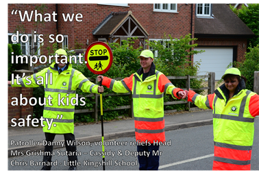 "Picture of three patrollers with the quote ""What we do is so important.  It's all about kids safety/"""