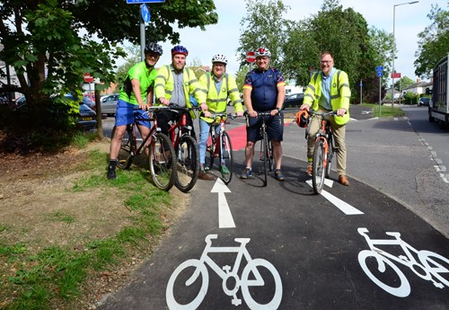 Local County Councillors Charlie Clare and Warren Whyte joined by Mark Shaw, Deputy Leader and Transport Cabinet Member, his Deputy Paul Irwin, and Buckinghamshire's Cycle Champion Clive Harris