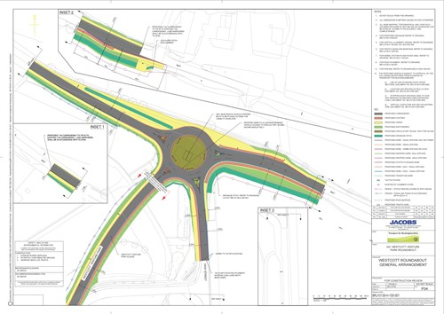 Plan of A41 Westcott roundabout showing road widening improvements