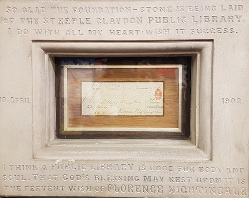 Photograph of the cheque Florence Nightingale donated to Steeple Claydon Library